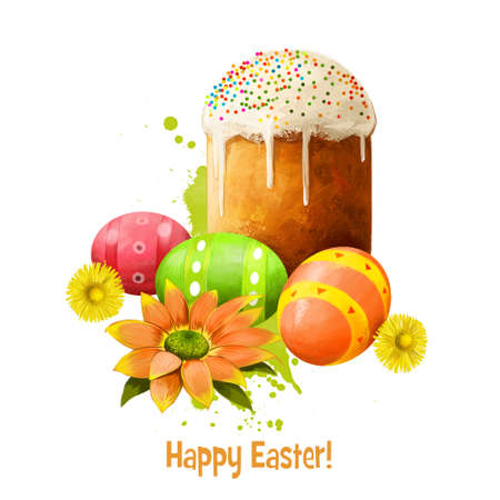eaten: Paska bread with eggs isolated on white. Easter bread eaten Eastern European countries. Greeting card design, holiday poster, national food. Happy Easter digital banner. Clip art illustration