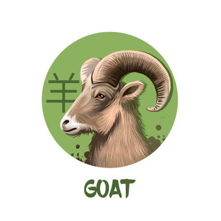 Caractère d'horoscope chinois de chèvre isolé sur fond blanc. Symbole de la nouvelle année 2027. Animal Ram ou mouton en cercle rond avec signe hiéroglyphique, illustration de l'art numérique, carte de voeux Banque d'images - 78195363