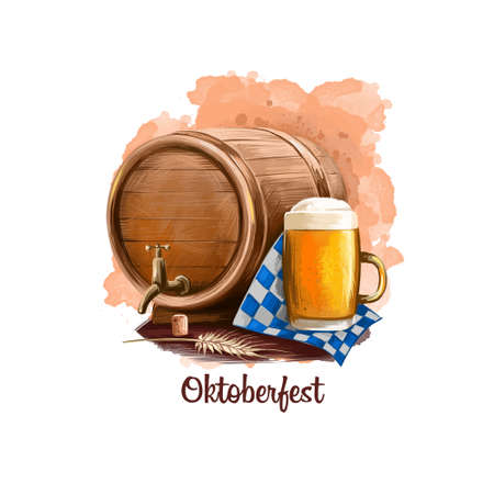 Oktoberfest holiday banner illustration with wooden barrel and mug with beer on paper, traditional poster with accessories for festive celebration. Digital art banner greeting card design