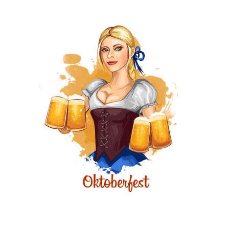 Illustration de bannière de vacances Oktoberfest avec bavaroise tenant des verres de bière dans les mains. Illustration d'art numérique de carte de voeux pour la célébration du festival d'octobre en Allemagne avec une femme nationale. Banque d'images - 83255159