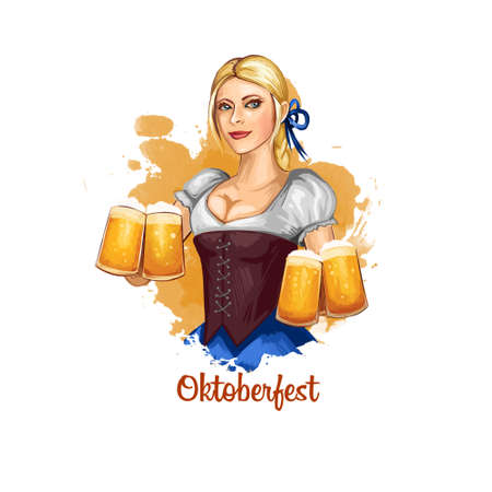 Oktoberfest holiday banner illustration with bavarian girl holding glasses of beer in hands. Digital art illustration of greeting card for october festival celebration in Germany with national woman.