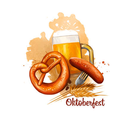 Oktoberfest holiday banner illustration with bavarian sausage on fork, mug of beer and salted pretzel near ears of wheat digital art banner isolated on white background. October festival accessories.