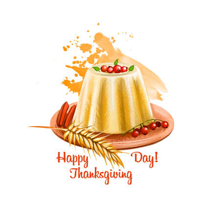 Happy thanksgiving day banner digital art illustration with milk chocolate cupcake decorated with red berries, ears of wheat and candies on plate, holiday treat greeting card design poster. Stok Fotoğraf