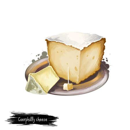 ケアフィリ チーズ プレート デジタル アートのイラストが白い背景で隔離。新鮮な乳製品、現実的なデザインで健康的な有機食品。おいしい前菜、