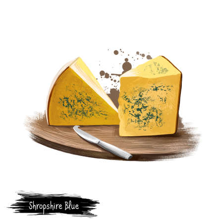 Shropshire Blue cheese on wooden board with knife digital art illustration isolated on white. Fresh dairy product, healthy organic food in realistic design. Delicious appetizer, gourmet snack meal