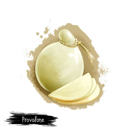 Provolone cheese with slices digital art illustration isolated on white background. Fresh dairy product, healthy organic food in realistic design. Delicious appetizer, gourmet snack italian meal