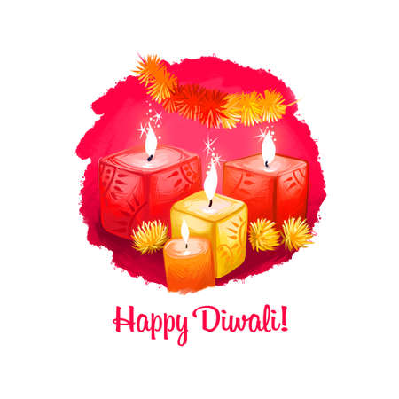 Happy Diwali digital art illustration isolated on white background. Hindus festival of lights. Deepavali hand drawn graphic clip art drawing for web, print. Dcorative candles burning with bright flame