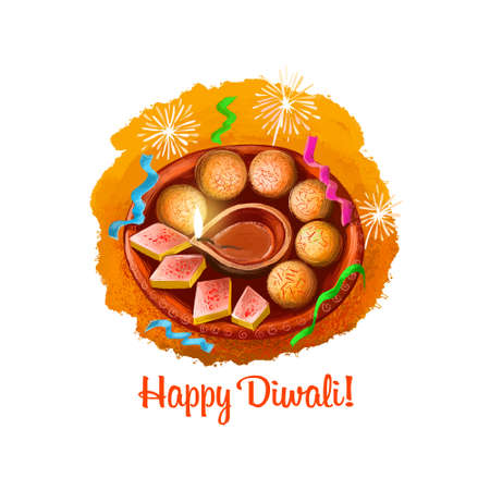 Happy Diwali digital art illustration isolated on white background. Indian festival of lights. Deepavali hand drawn graphic clip art drawing for web, print. Burning oil lamp on plate with sweets Stock Photo