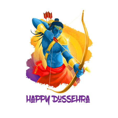 Digital art illustration for indian holiday Vijayadashami. Happy Dussehra writing. God Rama with bow, arrows. Dasara hindu festival graphic clip art design. Good over evil victory mythological symbol Stock Photo