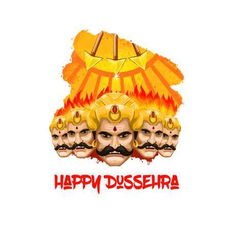 Digital art illustration for indian holiday Vijayadashami. Happy Dussehra writing. Evil demon Ravana with his multiple heads. Dasara hindu festival graphic clip art. Victory of good over evil symbol