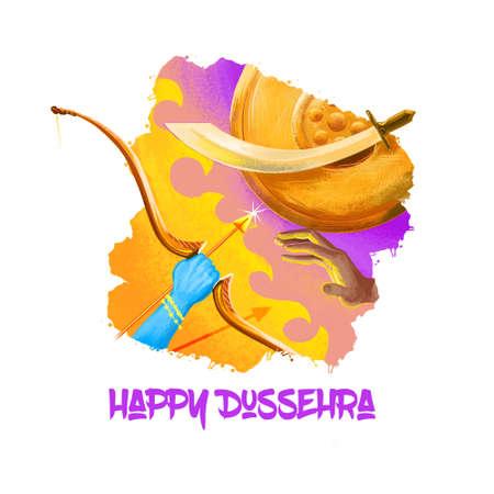 Digitale kunstillustratie voor Indische vakantie Vijayadashami. Gelukkig Dussehra schrijven. God Rama met boog, pijlen die vechten tegen de kwade demon Ravana. Dasara hindoe festival grafische clip art design tekening