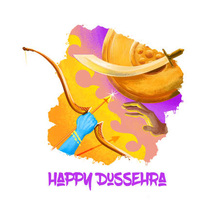 Digital art illustration for indian holiday Vijayadashami. Happy Dussehra writing. God Rama with bow, arrows fighting against evil demon Ravana. Dasara hindu festival graphic clip art design drawing