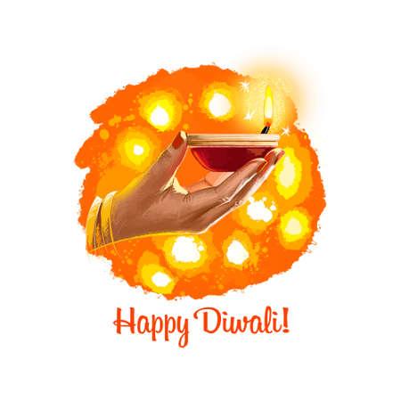 Gelukkige Diwali digitale kunstillustratie die op witte achtergrond wordt geïsoleerd. Indisch lichtfestival. Deepavali hand getekende grafische illustraties tekenen voor web, afdrukken. Vrouw met brandende olielamp in de hand Stockfoto - 85944859