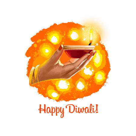 Happy Diwali digital art illustration isolated on white background. Indian festival of lights. Deepavali hand drawn graphic clip art drawing for web, print. Woman holding burning oil lamp in hand Stok Fotoğraf