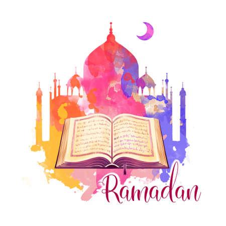 Ramadan Kareem holiday greeting card design. Symbols of Ramadan Mubarak: Muslim Mosque, Crescent, Quran book. Digital art illustration with colorful paint splashes. Graphic clip art for web and print Stock Photo