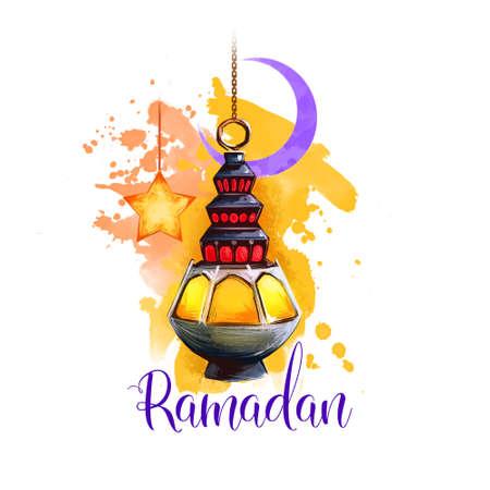 Ramadan Kareem holiday greeting card design. Symbols of Ramadan Mubarak: Ramadan Lantern, Crescent, Star. Digital art illustration with colorful paint splash background. Graphic clipart for web, print