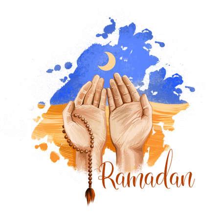 Ramadan Kareem vacances carte de voeux design. Perles et symboles du croissant de Ramadan Mubarak. L'homme prie pour Allah. Illustration d'art numérique avec fond de splash de peinture colorée. Clipart graphique Banque d'images