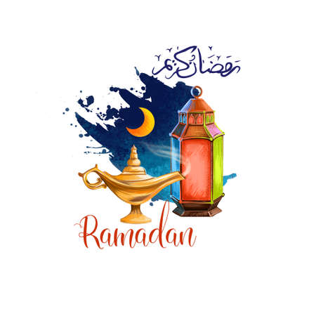 Ramadan Kareem holiday greeting card design. Symbols of Ramadan Mubarak: Ramadan Lantern, Crescent, Lamp, Arabic calligraphy. Digital art illustration with paint splash background. Graphic clip art