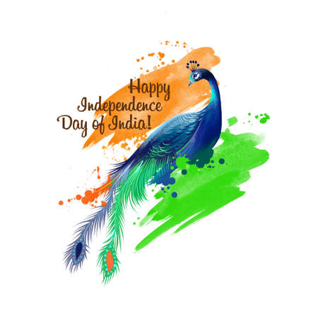 Independence day of India digital art illustration. National indian holiday greeting card, poster, brochure, leaflet, cover, layout template. National colors of indian flag. Graphic clip art mock-up