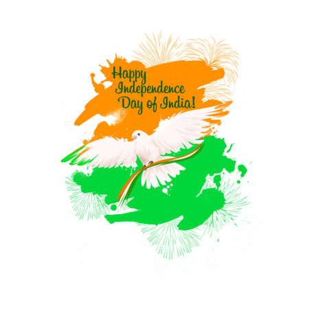 인도 디지털 아트 그림의 독립 기념일입니다. 국립 인도 휴일 인사말 카드, 포스터, 브로셔, 전단지, 커버, 레이아웃 템플릿. 인도 국기의 국가 색. 그래