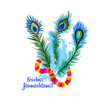 Krishna Janmashtami digital art illustration. Annual Hindu festival in India. Birth of Krishna holiday greeting card, poster, brochure, leaflet, cover, layout template. Graphic design clip art mock-up Imagens