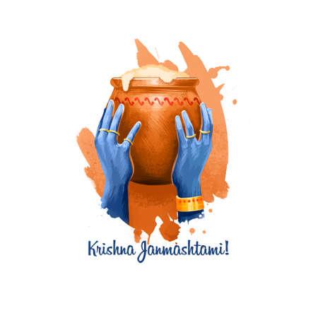 Ilustración de arte digital de Krishna Janmashtami. Festival hindú anual en la India. Nacimiento de la tarjeta de felicitación de vacaciones Krishna, cartel, folleto, folleto, cubierta, plantilla de diseño. Diseño gráfico clip art maqueta Foto de archivo - 85889689