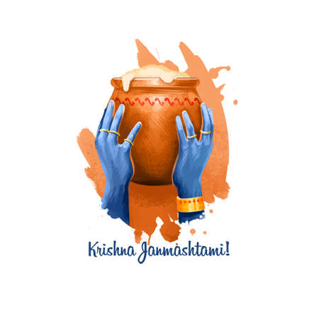 Krishna Janmashtami digital art illustration. Annual Hindu festival in India. Birth of Krishna holiday greeting card, poster, brochure, leaflet, cover, layout template. Graphic design clip art mock-up Stok Fotoğraf