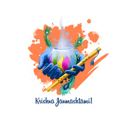 Krishna Janmashtami digital art illustration. Annual Hindu festival in India. Birth of Krishna holiday greeting card, poster, brochure, leaflet, cover, layout template. Graphic design clip art mock-up Stock Photo