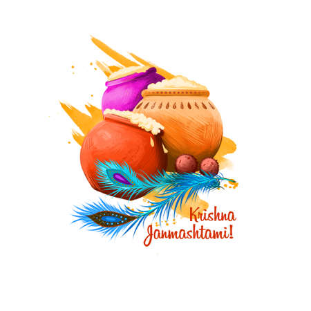 Krishna Janmashtami 디지털 아트 그림입니다. 인도의 힌두 축제. 크리 슈 나 휴일 출생 인사말 카드, 포스터, 안내 책자, 전단지, 커버, 레이아웃 템플릿의 탄 스톡 콘텐츠