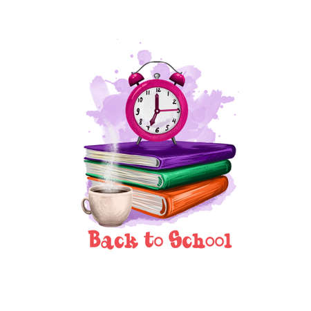 Back to school digital art illustration. Beginning of studying year event. Hand drawn clock alarm, coffee cup, notebook, book set isolated on white background. Graphic clip art design concept drawing Stock Photo