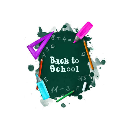Back to school digital art illustration. Beginning of studying year event. Hand drawn blackboard, ruler, chalk, marker, pencil set isolated on white background. Graphic clip art design concept drawing