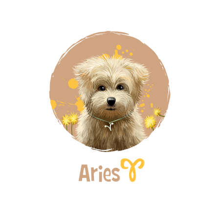 Digital art illustration of astrological sign Aries. 2018 year of dog. First of twelve zodiac signs. Horoscope fire element. Logo sign with ram horns. Graphic design clip art for web, print. Add text