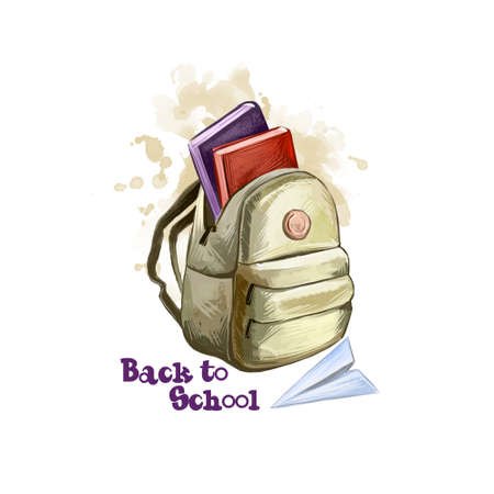 Back to school digital art illustration. Beginning of studying year event. Hand drawn opened backpack, paper plane, books set isolated on white background. Graphic clip art design concept drawing