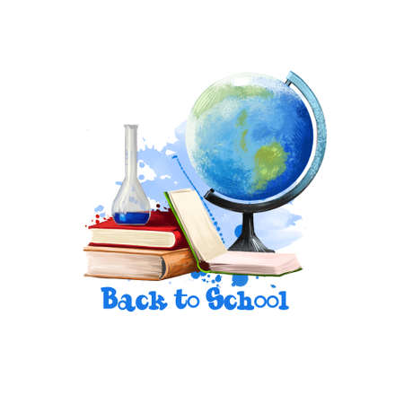 Back to school digital art illustration. Beginning of studying year event. Hand drawn sphere world globe, glass flask, notebook, books set isolated on white background. Graphic clip art design concept