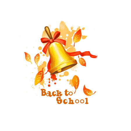 Back to school digital art illustration. Beginning of studying year event. Hand drawn golden bell with bow, ribbon, yellow leeaves isolated on white background. Graphic clip art design concept drawing