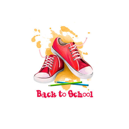 Back to school digital art illustration. Beginning of studying year event. Hand drawn colorful pencils, red sneakers isolated on white background with paint splashes. Graphic clip art design concept