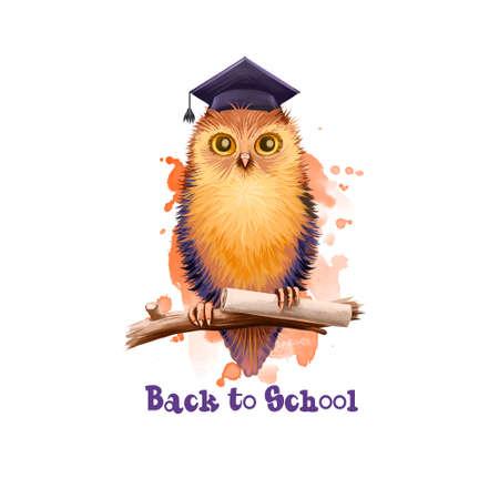 学校のデジタルアートのイラストに戻る。研究年のイベントの始まり。紙のスクロールと枝に座っている手描き賢明なフクロウは、白い背景に分離 写真素材