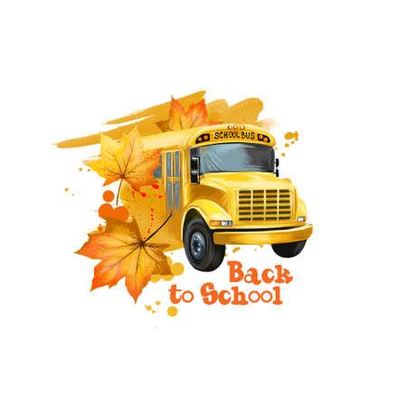 Volver a la ilustración de arte digital de la escuela. Principio de estudiar año. Dé el vehículo americano amarillo dibujado del autobús escolar con las hojas de arce amarillas aisladas en el fondo blanco. Concepto de diseño gráfico clipart Foto de archivo - 85850933