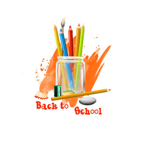Back to school digital art illustration. Beginning of studying year event. Hand drawn colorful pencils in glass jar, rubber, sharpener set isolated on white background. Graphic clip art design concept