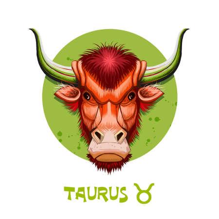 Illustrazione digitale creativa del segno astrologico Toro. Secondo di dodici segni nello zodiaco. Oroscopo elemento terrestre. Segno di logo con le corna di toro. ClipArt di grafica per il web e la stampa. Aggiungi qualsiasi testo Archivio Fotografico - 85850971
