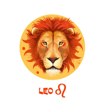 Creative digital illustration of astrological sign Leo. Fifth of twelve signs in zodiac. Horoscope fire element. Logo sign with lion head. Graphic design clip art for web and print. Add any text