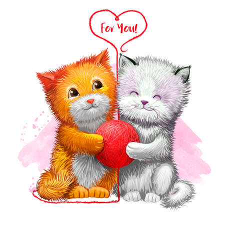 Digital illustration of two cute kittens holding red ball of yarn. Beautiful design with paint splashes. For you title. Happy Valentines Day greeting card design template for web and print. Add text