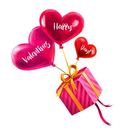 ハート形の風船の上に飛んで休日の贈り物のデジタルイラスト。●ピンクのラッピングペーパーと金色のリボンでプレゼント。Web と印刷のためのハ