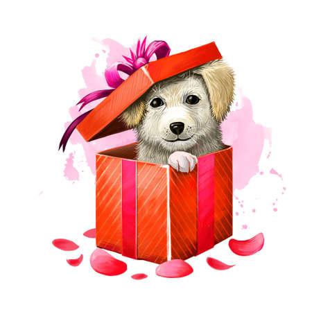ギフトボックスにかわいい子犬のデジタルイラスト。赤のラッピング紙と弓、バラの花びらと紫色のリボンの美しい存在。Web と印刷のためのハッピ