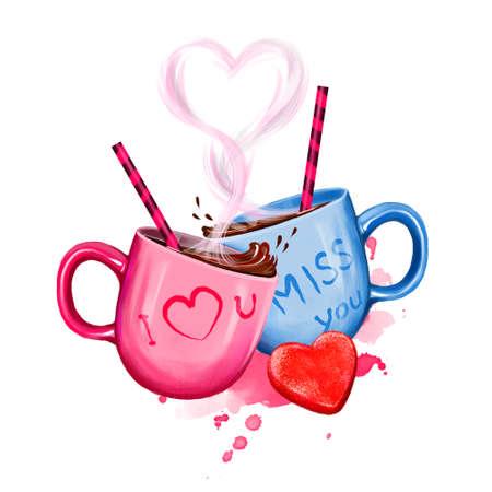 Illustrazione digitale di due tazze con bevanda calda di cacao. Design della coppa per la coppia: rosa per lei e blu per lui. Cuore di tubi di vapore e bevande divertenti. Modello di disegno di cartolina d'auguri felice giorno di San Valentino Archivio Fotografico - 85850979