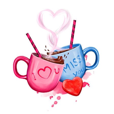 Digital illustration of two cups with hot cocoa drink. Cup design for couple: pink for her and blue for him. Heart of steam and funny drink tubes. Happy Valentines Day greeting card design template Stock Photo
