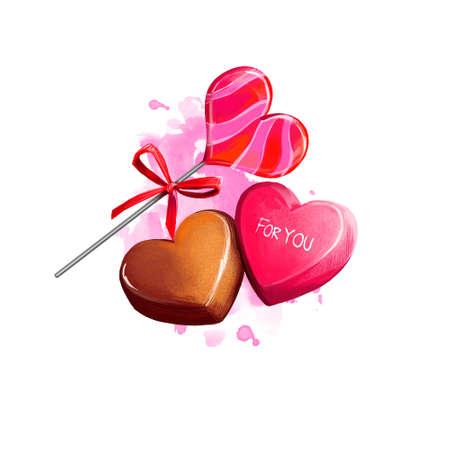 ハート型キャンディーのデジタルイラスト。チョコレートとキャラメルの手作りキャンディー。塗装が施された美しいデザイン。Web と印刷のための