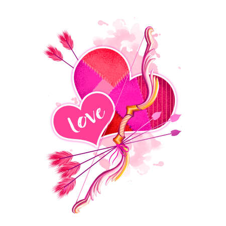Digital illustration of hearts with cupids bow and arrows. Beautiful design with pink paint splashes. Happy Valentines Day greeting card graphic design template for web and print. Add any text
