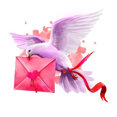 Digitale Illustration der Taube, die Liebesbrief holt. Fliegende Pfostentaube. Schöner Entwurf mit rosa Farbe spritzt. Happy Valentines Day Grußkarte Design-Vorlage für Web und Print. Fügen Sie jeden Text hinzu Standard-Bild - 85850982