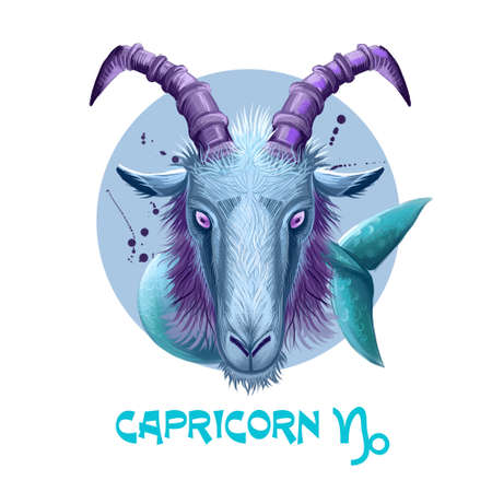 Creative digital illustration of astrological sign Capricorn. Tenth of twelve signs in zodiac. Horoscope earth element. Logo sign with sea-goat. Graphic design clip art for web and print. Add any text